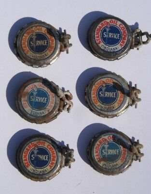 STANDARD OIL CAN - Antique BOTTLE CAP LOT 6 RARE INDIANA SERVICE Early 1900s-