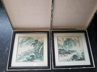 Very beautiful pair of Old Chinese Hand Paintings~Seal mark signed~