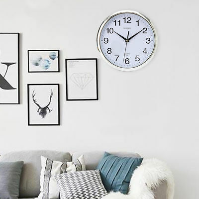 New Retro Vintage Silver Round Wall Clock Modern Home Bedroom Kitchen Time UK