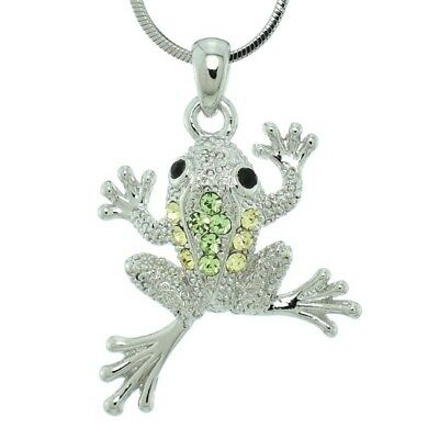 "Made With Swarovski Crystal Frog Jungle Light Green Pendant 18"" Chain Necklace"