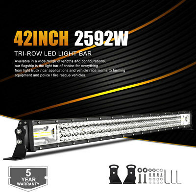"Tri-Row 42""Inch 2592W OSRAM Led Light Bar Combo Offroad 4WD Truck ATV UTE 40/44"""