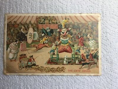 Old Postcard - Ernest Nister Litho, The Cats' Circus, Dressed Cats