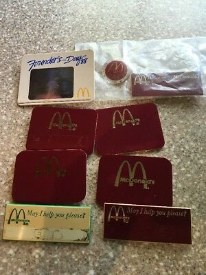 9 McDONALDS name badges Pins Name Tags! Vintage logos Founders Day 1988
