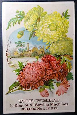 Trade Card - The White Sewing Machine 800,000 in Use Colorful Scene Flowers
