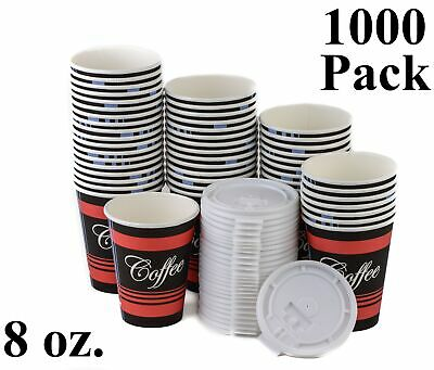 1000 Pack 8 Oz. Poly Paper Disposable Hot Tea Coffee Cups with Flat White Lids