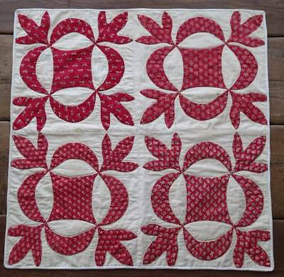 EARLY Civil War Era Sweet Turkey Red Antique Applique Table Crib QUILT 26x25