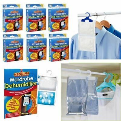 1 - 24 x Hanging Wardrobe Dehumidifier Damp Mould Mildew Moisture Condensation