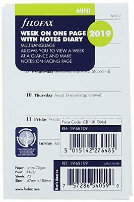 Filofax 19-68109 Mini Week per Page 2019 Diary with Notes