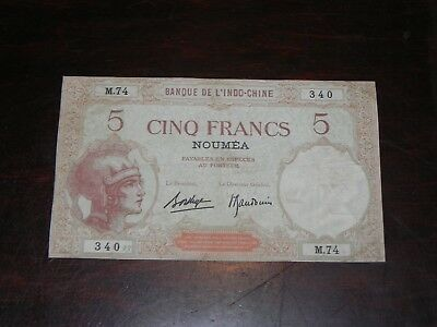 New Caledonia 5 Francs Banknote ca. 1926 P-36 Circulated JCcug 18857