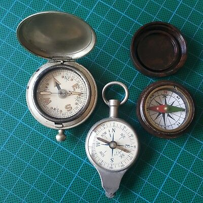 Antique compass, collection of vintage compasses & map measuring wheel