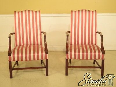 29313E/14E: Pair HICKORY CHAIR CO. Open Arm Lolling Chairs
