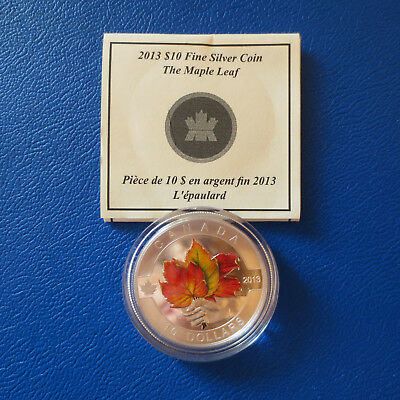 Kanada 10 $ 2013 The Maple Leaf Color Silber in PP mit Zertifikat (187)