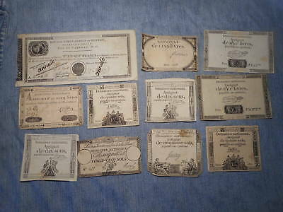 France French Revolution ELEVEN assignats 1790's