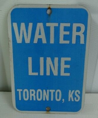 Vintage Water Utility Line Metal Sign Blue & White