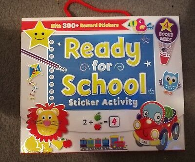 Childrens carry case Ready for School sticker activity pack of 4 books brand new
