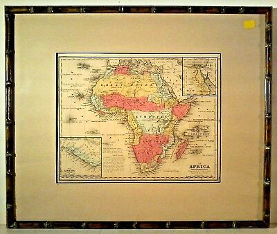1874 MITCHELL'S ATLAS ANTIQUE MAP of AFRICA HAND COLORED FRAMED & MATTED N/R