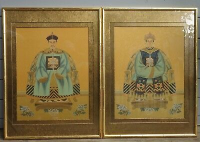 Set of 2 Framed Vintage Chinese Emperor & Empress Watercolored Paintings On Silk