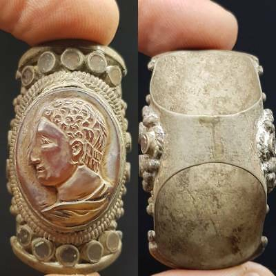 Roman Old Stone Cameo King Face Agate Stone Antique Ring  # 4E