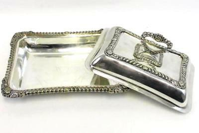 "Vintage Silver Plated Covered Serving Dish Tray Handle Detailed 11"" x 8"" w/ Lid"