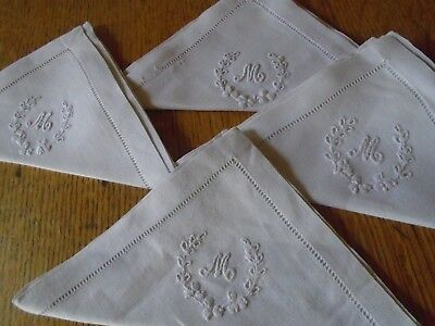 Set Of 4 Vintage Irish Linen Tea Napkins - Monogrammed 'm'