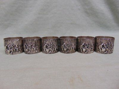 "Vintage Signed Denmark 906 ""EL"" Crown Senic Silver Napkin Rings - Set of 6"