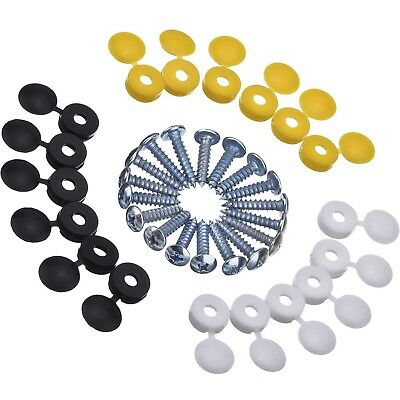 18 Pieces Caps and Screws Car License Plate Fixing Fitting Kit, 3 Assorted Co...