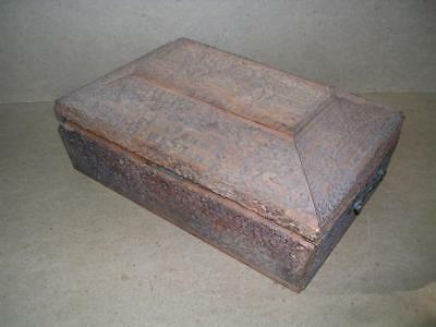 Large 19th century carved Indian sandalwood box. 13 inches wide.