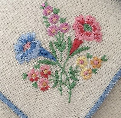 Vintage Pretty Linen Embroidered Napkins Country Cottage Shabby Chic