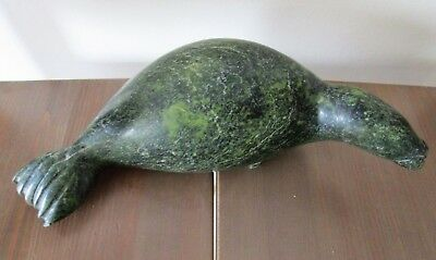 Inuit Eskimo Art Green Stone Carving, Of Basking Seal, C.1960s, Soapstone Canada