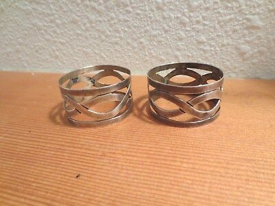Taxco Sterling Silver Napkin Rings Set Of 4 Open Work No Monogram Mid Century