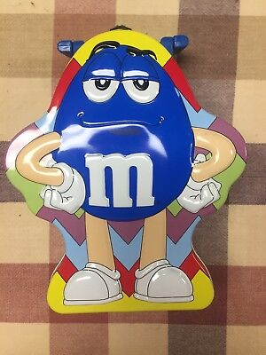 M&M Tin Metal Lunch Box with Handle Blue Character