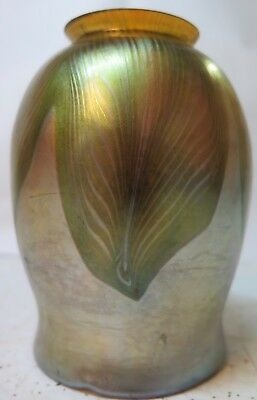Vintage Original Tiffany Studios Pulled Feather Favrile Art Glass Shade