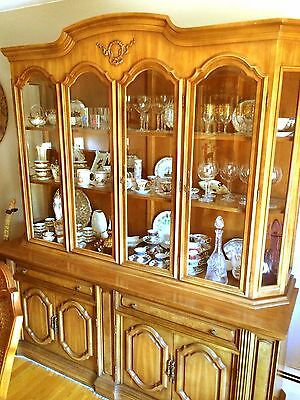 Illuminated  Breakfront Italian Provincial China Cabinet Beveled Glass 76W 85H