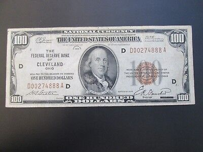 Series 1929 $100 The Federal Reserve Bank Of Cleveland Ohio