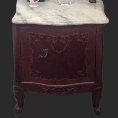 PAIR ANTIQUE FRENCH LOUIS STYLE FURNITURE Marble Top Nightstand Set End Tables