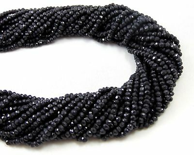 "5 Strands Natural Coated Black Spinel Stone Rondelle Faceted Beads 3-4mm 13""Long"