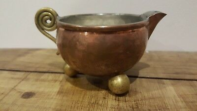 Vintage French Hammered Copper And Brass Ball Footed Jug Arts And Crafts