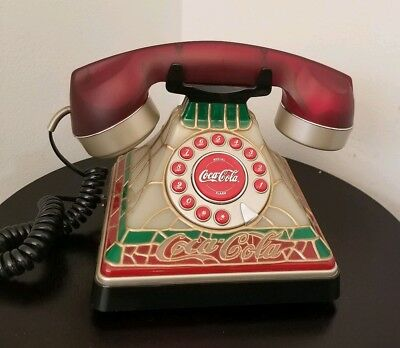 Retro Phone Roatry Style Push Button Coca Cola Stained Glass *Fully Functional*