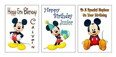 Personalised Printed Disney Inspired MICKEY MOUSE Birthday Cards