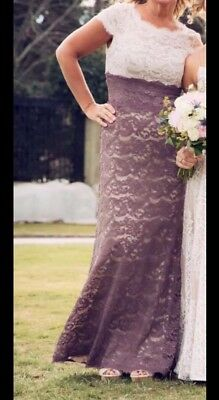 Adrianna Papell 8 Gown Formal Mother Bridesmaid Lace Cream Purple Empire Dress