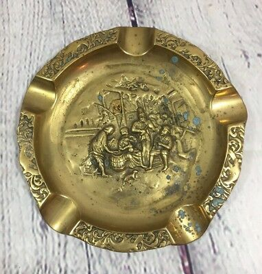 Vtg Brass Cigar Ashtray Embossed Designs Patina Spots - 8.25""