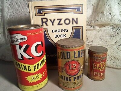 Vintage Lot Of Baking Powder Tins (3) + Ryzon Baking Book
