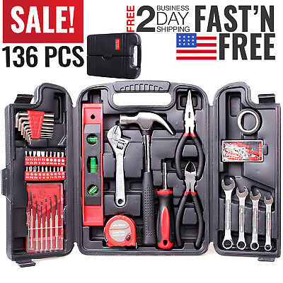 Tool Set Kit Mechanic Hand Tools Socket Screwdriver Wrench Home Household Box