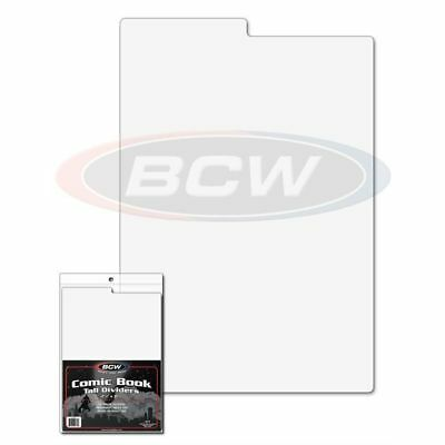100x BCW TALL COMIC BOOK DIVIDERS- 7 1/4 X 10 3/4 TABBED WHITE PLASTIC 1-CD-TALL