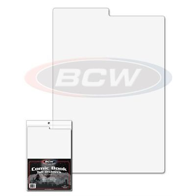 250x BCW TALL COMIC BOOK DIVIDERS- 7 1/4 X 10 3/4 TABBED WHITE PLASTIC 1-CD-TALL