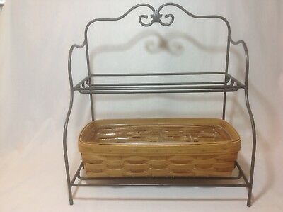 Longaberger Wrought Iron Small Bakers Rack Bread Basket 4 Way Divided Protector