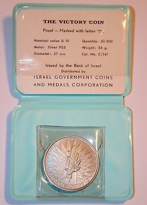 """Israel, 1967 10 Lirot Proof Orig Case & COA as issued """"The Victory Coin"""" 6 Day W"""