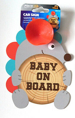 BABY ON BOARD CAR WINDOW SAFETY SIGN Hedgehog & Log PLASTIC SUCTION FIX WARNING