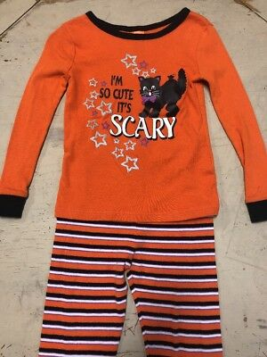 Girls Halloween Pajamas Black & Orange Size 4T Black Cat So Cute It's Scary