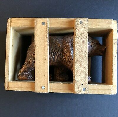 Antique Vintage 1951  Souvenir Bear In A Wooden Crate Wyoming